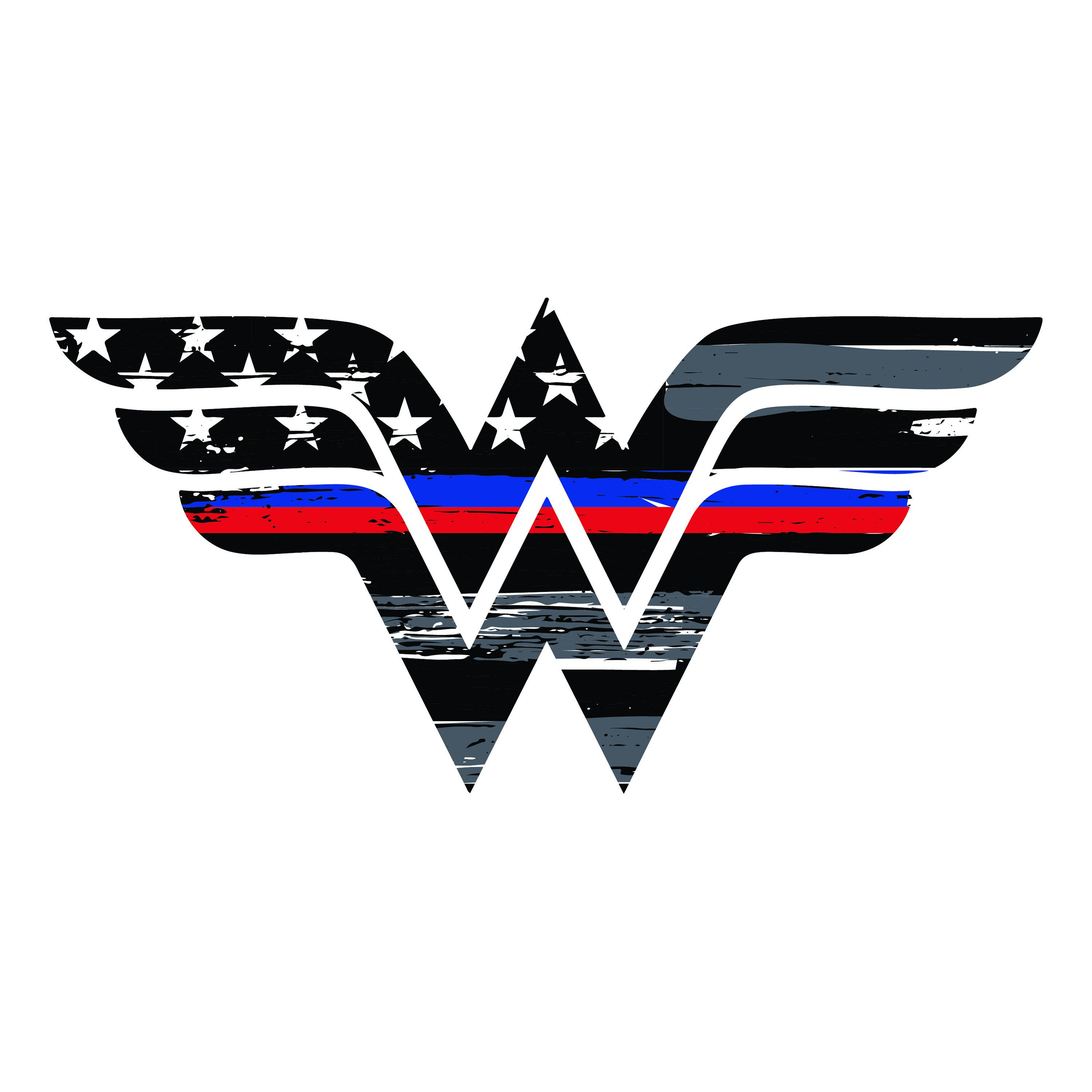 Thin Red And Blue Line Wonder Woman Vehicle Decal Vinyl Etsy Thin Blue Line Decal Wonder Woman Firefighter Decals [ 3000 x 3000 Pixel ]