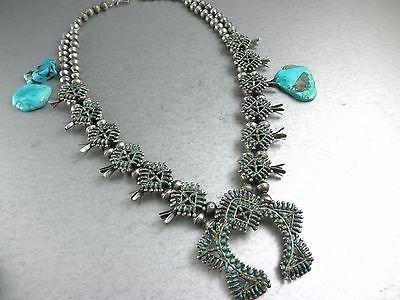 88g-UNIQUE-OLD-OLD-Primitive-Zuni-Petite-Point-Turquoise-Squash-Blossom-Necklace