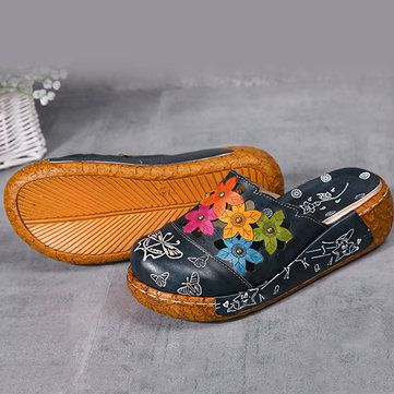 SOCOFY Women Genuine Leather Shoes Print Slippers Flower Platform Wedge Sandals