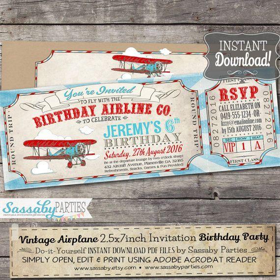 Vintage Airplane Ticket Invitation - INSTANT DOWNLOAD - Partially - airline ticket invitation