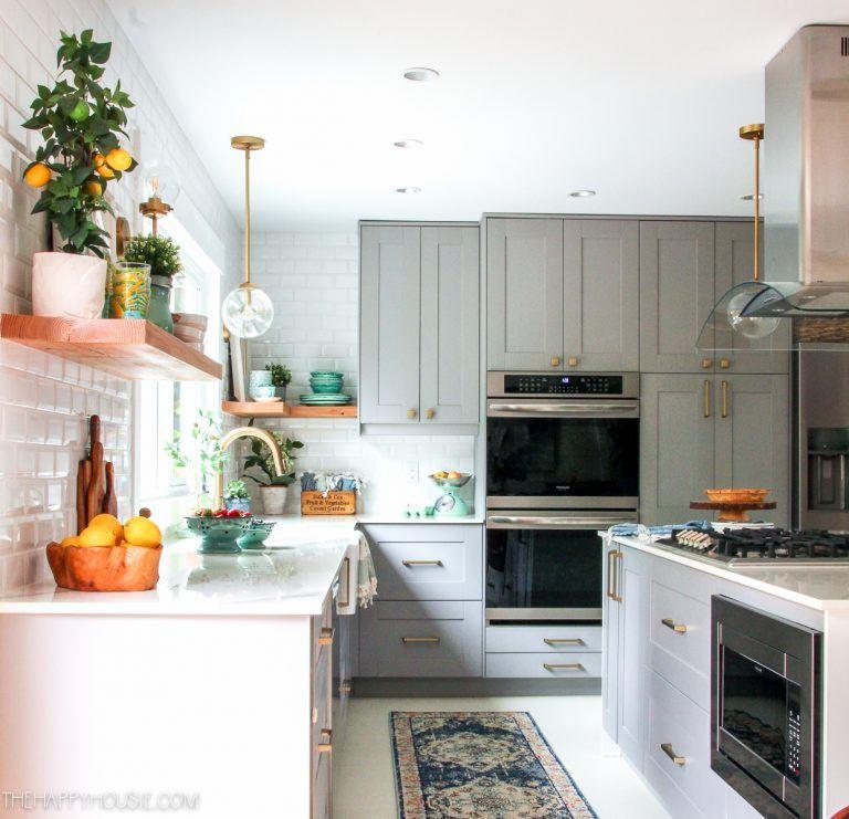 20 Fabulous Kitchens Featuring Grey Kitchen Cabinets The Happy Housie Grey Kitchen Cabinets Kitchen Cabinets Grey Kitchen