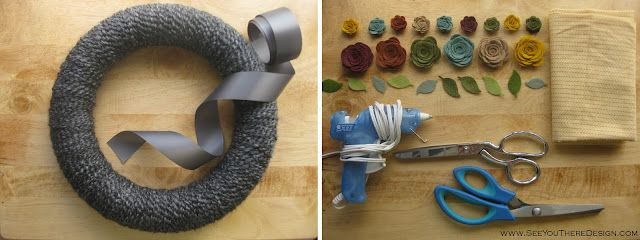 yarn covered wreath with fabric flowers