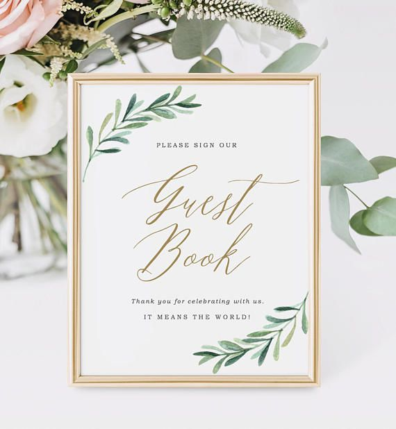 guest book sign template garden wedding decor greenery wedding signs printable guest book