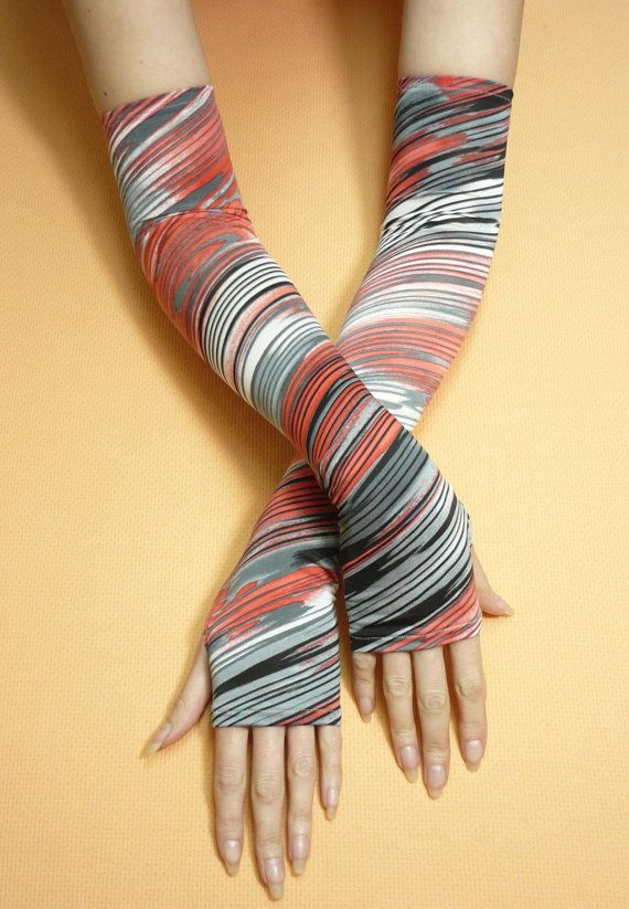 Long Thin Multicolor Armwarmers, Boho Hippie Fingerless Gloves ...