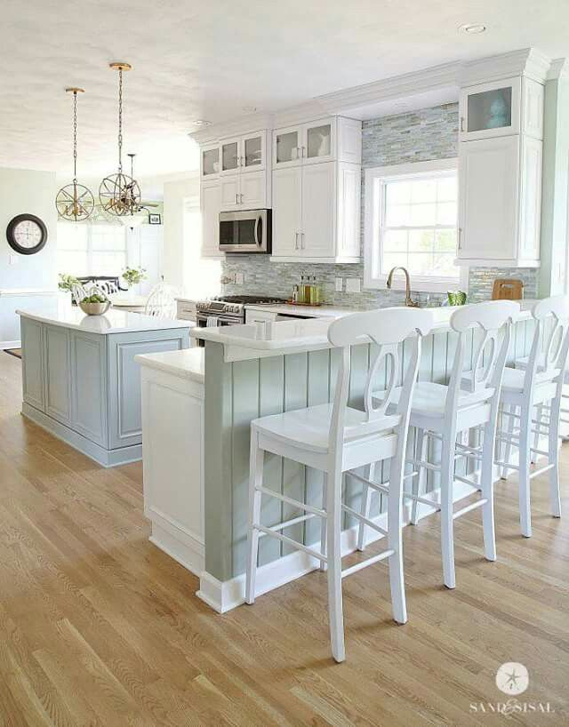 Love this kitchen by the talented kim her home is beautifully designed with coastal inspire colors and decor head over her feed if youre looking for
