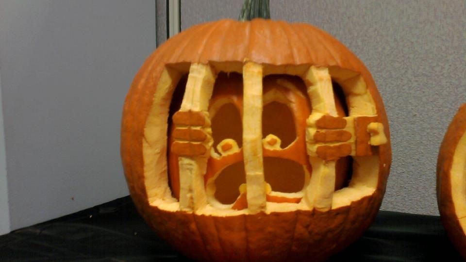 Pumpkin Jail Cool Pumpkin Carving Idea I Won First Place In The