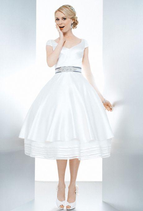 Brides: Matty Matthew Christopher. Tea length silk duchess gown. A V ...