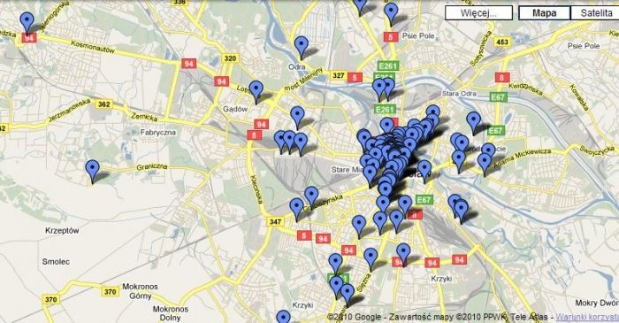 A map of all the dwarfs in Wroclaw At least the ones who we know