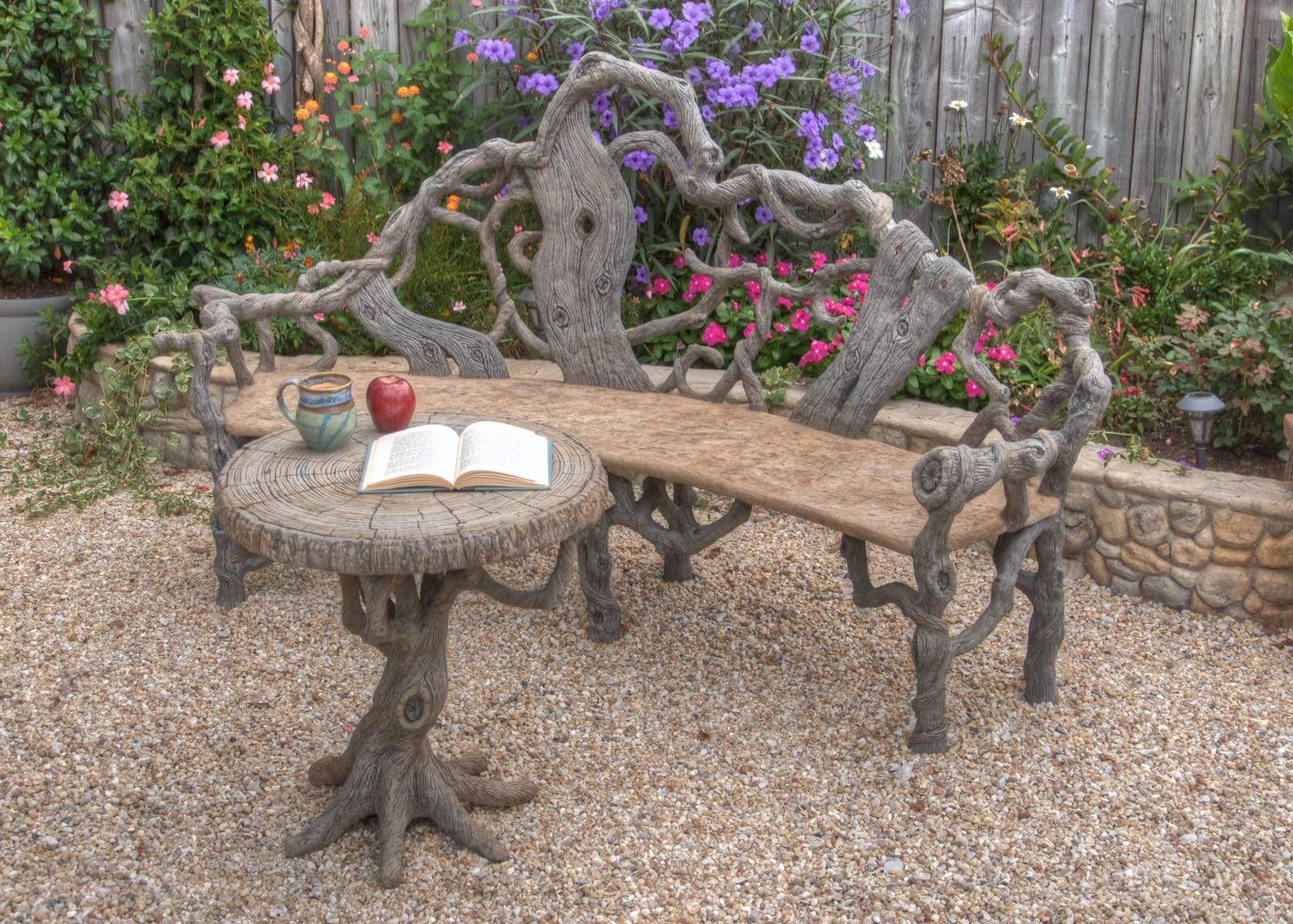Concrete Faux Bois Outdoor Garden Furniture By Sculptor Diane Husson More