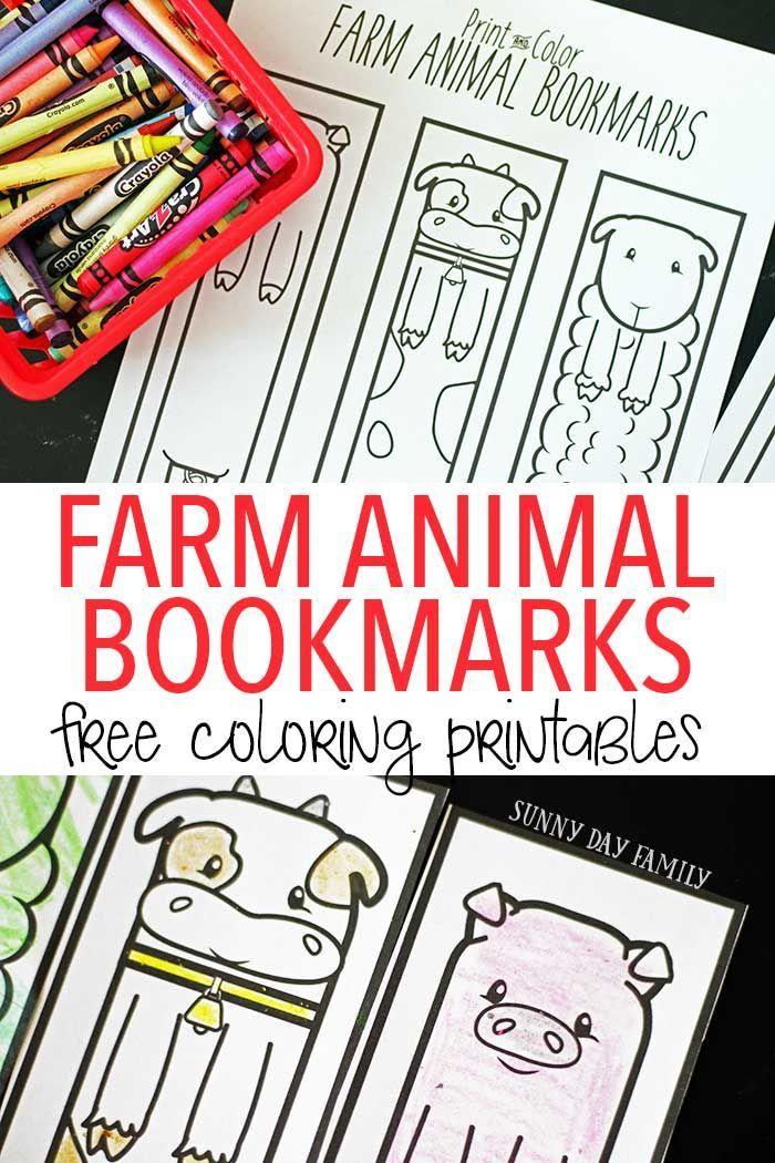 Free Printable Farm Animal Bookmarks