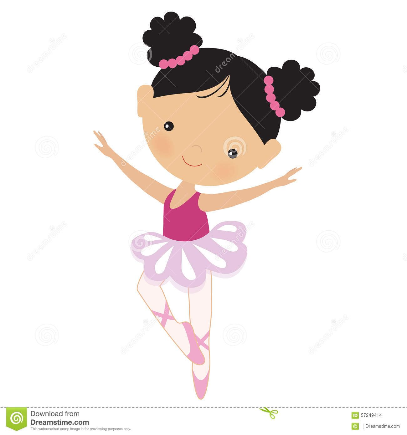 Cute Pink Ballerina Vector Illustration - Download From ...