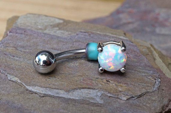 White Opal Belly Button Rings Belly Button Jewelry Products