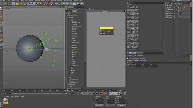 Cinema 4D Xpresso+Python Training // Ray Collision Nodes