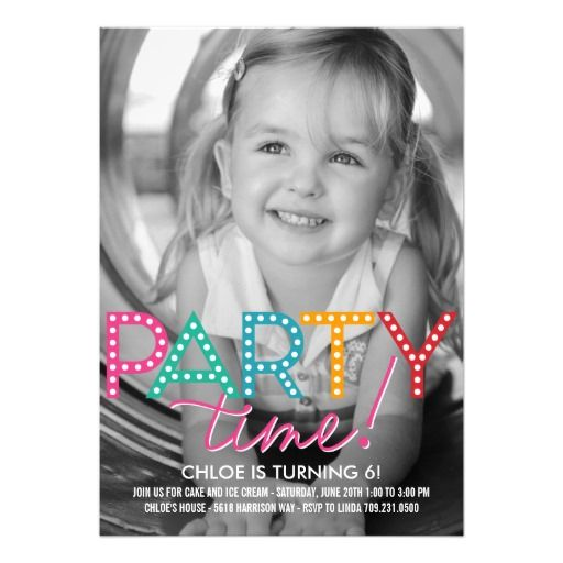 Party Time Photo Birthday Invitation Cards Birthday Party - fresh birthday party invitation designs