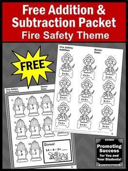 Free Fire Safety Activities Kindergarten Addition and Subtraction ...