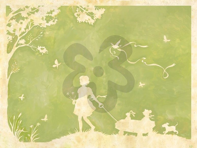 Toile Girl Pulling Wagon - Dogs & Cats Canvas Wall Art | Oopsy daisy ...