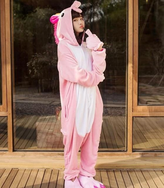 bfc17fbb87 Pink Unicorn Pajamas Sets Flannel Pajamas Winter Nightie Stitch Pyjamas For Women  Adult Sleepwear