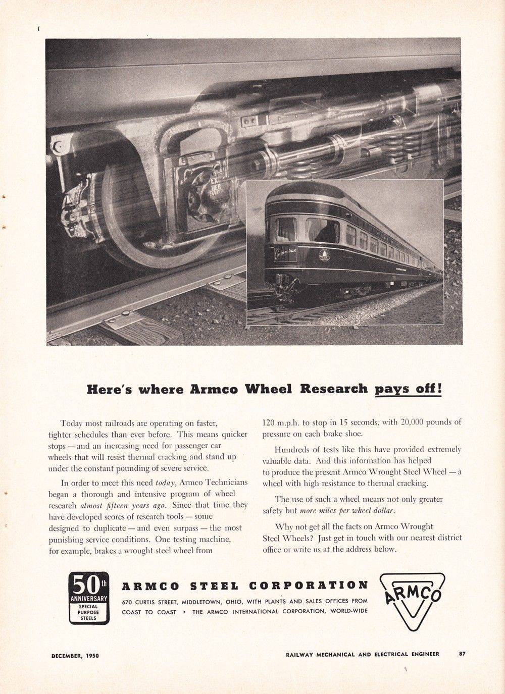 1950 Armco Steel Corp Ad B&O Baltimore & Ohio Railroad