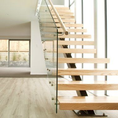 Steel stairs with timber treads