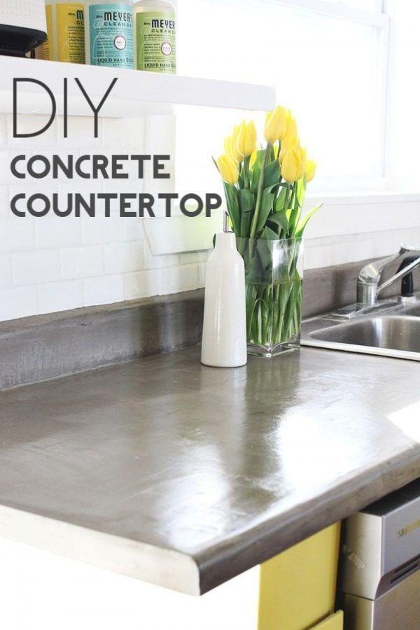 20 Easy Countertop DIY Tutorials To Revamp Your Kitchen | Countertop,  Concrete Kitchen And Diy Concrete