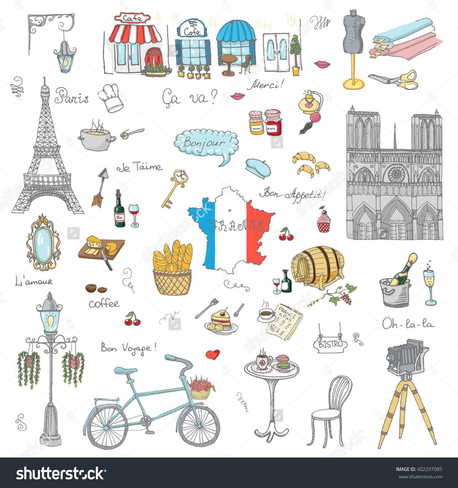 set of hand drawn french icons paris sketch vector illustration rh pinterest com French Border Clip Art French Flag Clip Art