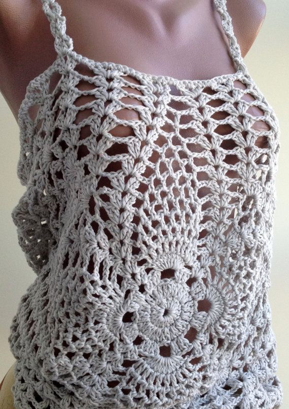 Gray crochet top/ Sexy crochet lace top/ Crochet Top/ Crochet Sexy ...