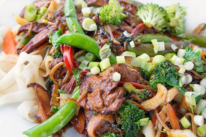 stir fried pork on ho fun noodles to make pork ho fun