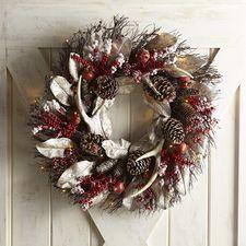 Pre Lit Oversized Faux Pomegranate Antler Wreath Pre Lit Wreath Wreath Storage Antler Wreath