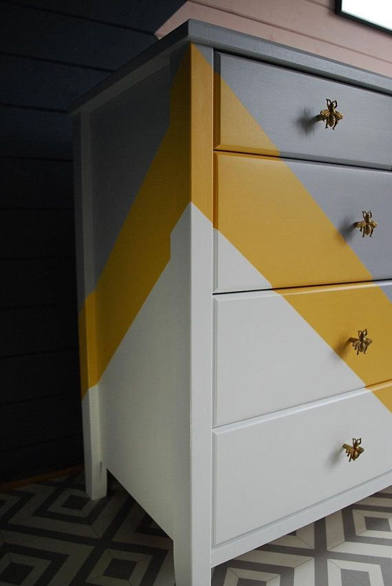 SOLD * Painted chest of drawers, grey white and yellow, bee knobs and lining paper, bespoke hand painted furniture, bedroom storage