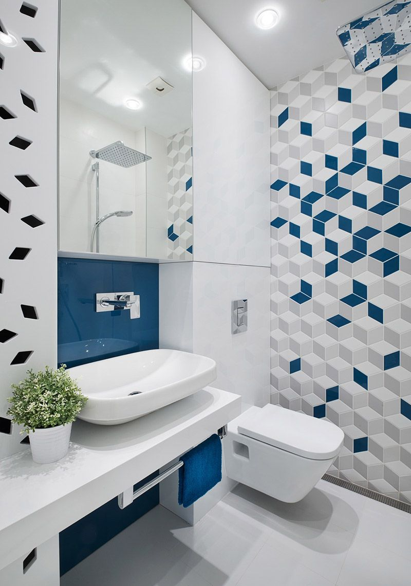 Geometric Patterns Look Fresh And Animate Your Home Modern Bathroom Tile Bathroom Design Small Trendy Bathroom