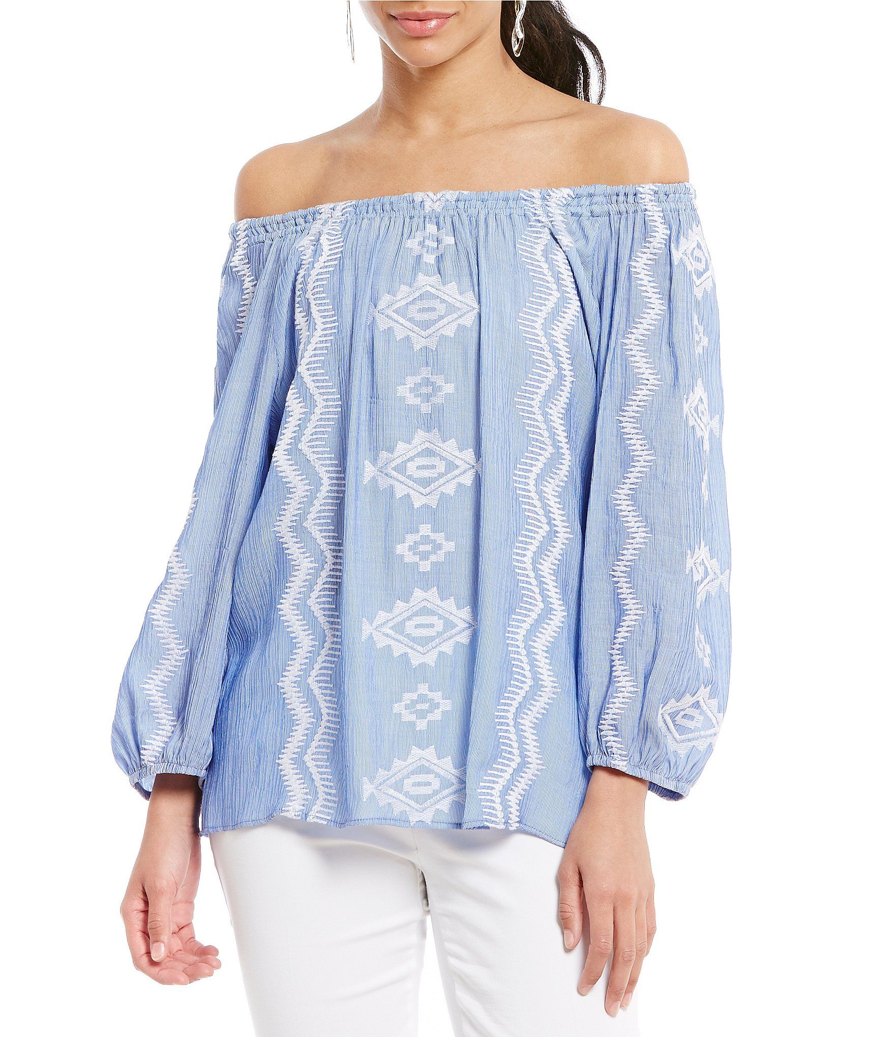 0e7ea888ee Gibson and Latimer OfftheShoulder Embroidered Peasant Blouse  Dillards