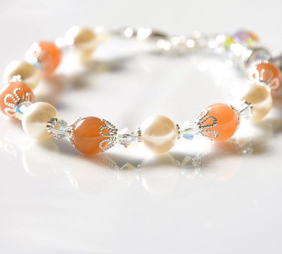 Moonstone Rosary Bracelet - Saint Agatha Breast Cancer or Choice of Saint and Prayer Card - Genuine Peach Moonstone Gems - Swarovski Crystal