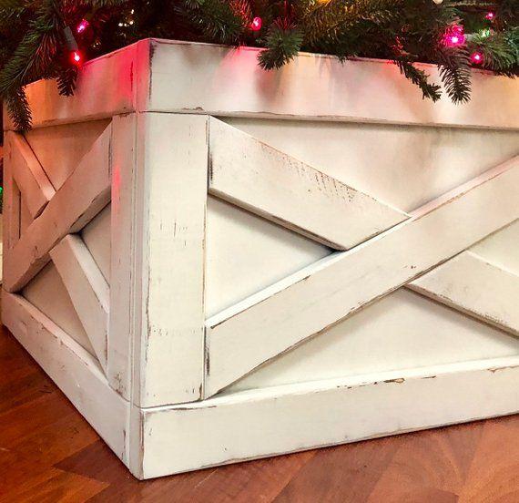 Folding Slim Tree Christmas Tree Box Stand Wood Tree Skirt Etsy Slim Christmas Tree Christmas Tree Box Christmas Tree Box Stand