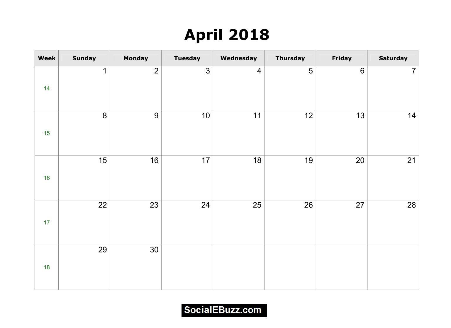 blank calendar 2018 pdf