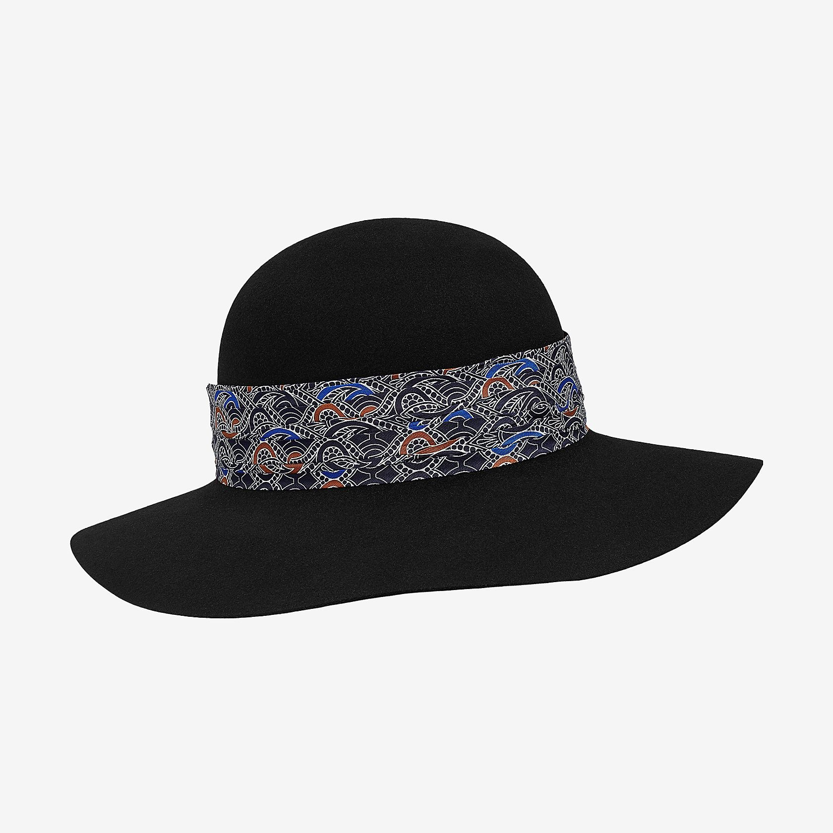 fe32af25cc87 Hat in rabbit felt with pleated silk detail in