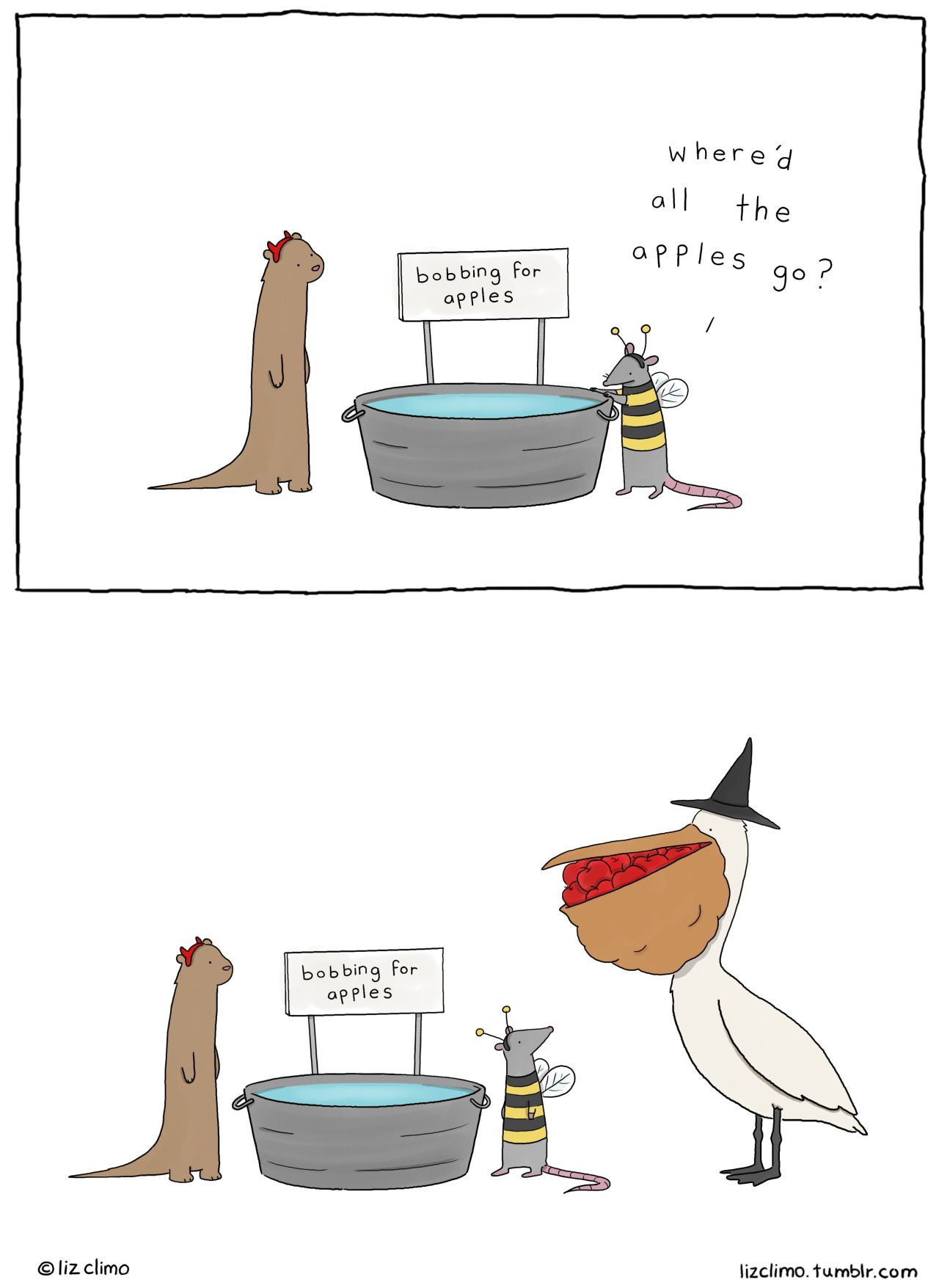 bobbing for apples ~ pelican takes all | Liz Climo comic ...