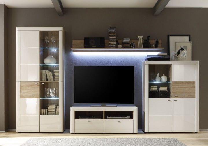 weiße wohnwand pia i - 4 teilig #weiß #möbel #wohnzimmer #wohnwand, Wohnzimmer