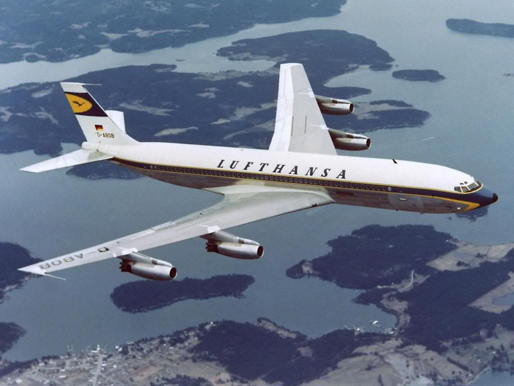 "D-ABOB Boeing-707-430 LH, 17.3.1960 ~ First Transatlantic Non-Stop Flight ~ They would take into account real time weather data each day, as well as simulated load factors to perfect the route years before the route would go ""live"". From 1956-1958, while the 707 was still in design phase and had no accurate data, Lufthansa would assume data from Boeing's Dash 80 for its simulations. ~ 3 of 5"