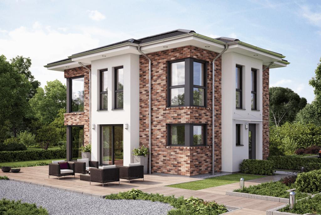 moderne stadtvilla haus evolution 122 v14 bien zenker fassadengestaltung mittels klinker. Black Bedroom Furniture Sets. Home Design Ideas