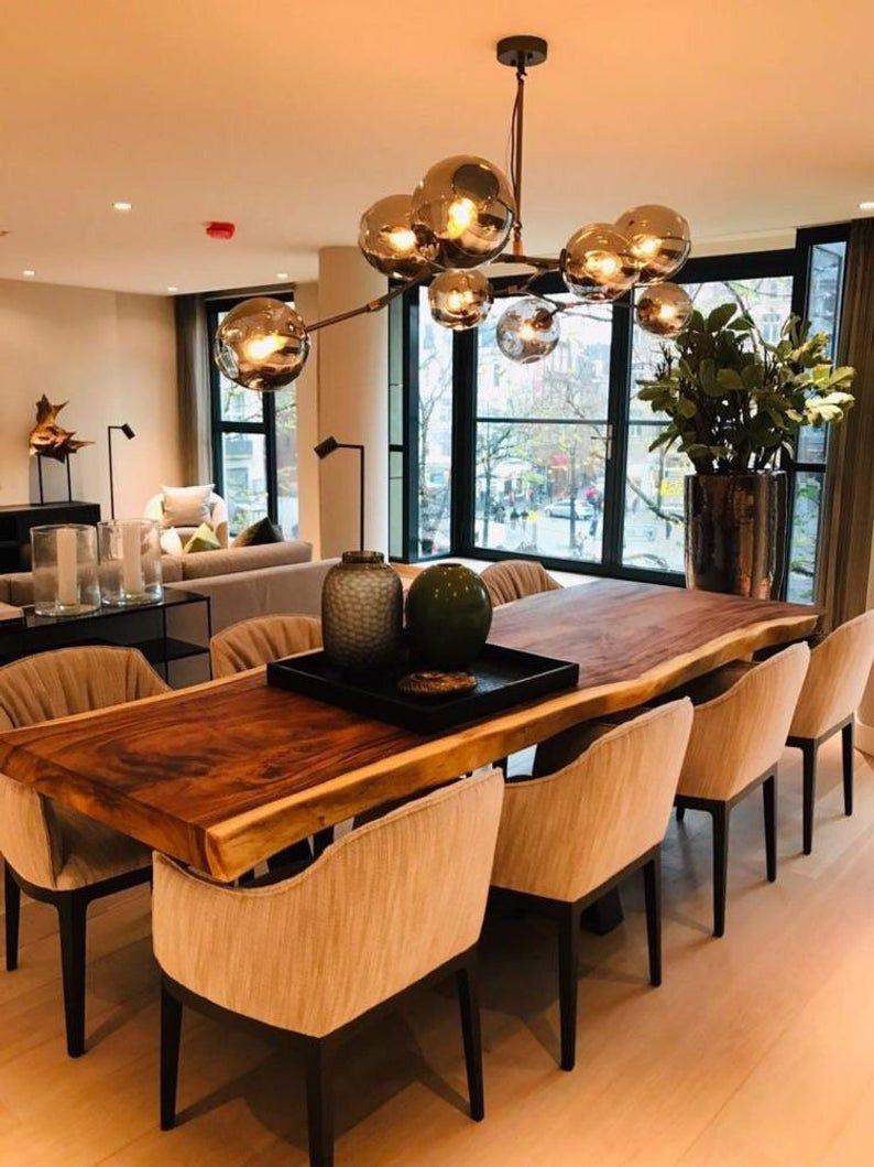 Live Edge Dining Table Reclaimed Single Slab Acacia Wood 80