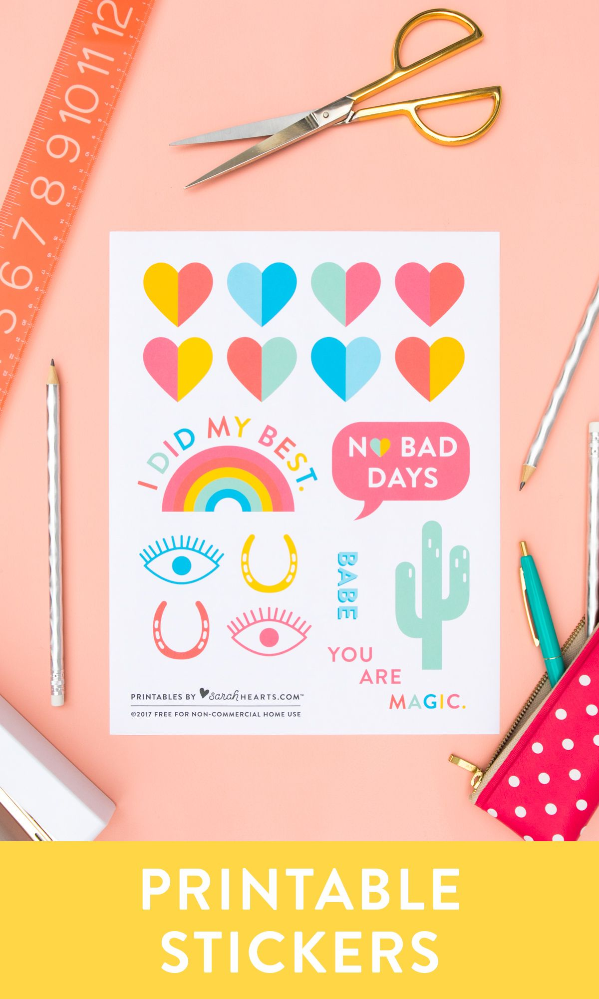 Free printable back to school stickers print them on avery white clear or metallic sticker paper to customize all your supplies