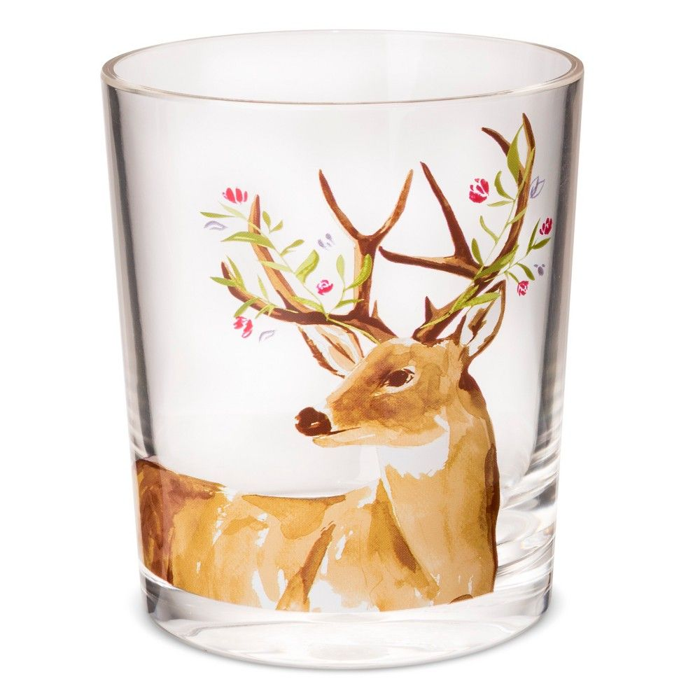 Double Old Fashioned 14 oz Plastic Tumbler with Deer - Threshold, Clear