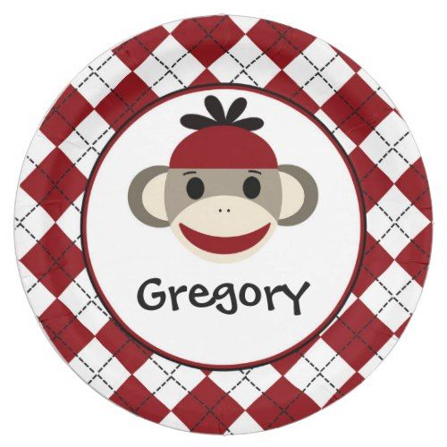 Sock Monkey Red Baby Boy Party 7  Paper Plates  sc 1 st  Pinterest & Sock Monkey Red Baby Boy Party 7