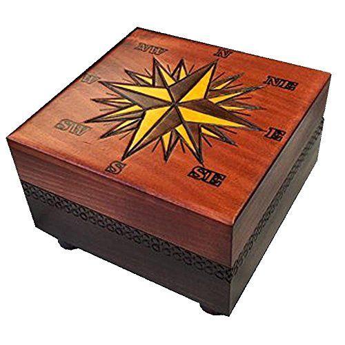 Compass Rose Nautical Star Box Secret Opening Polish Handmade