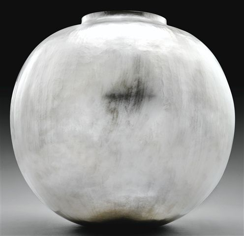 Sang-Hyeob Lee  TitleVase Lune  Mediumhammered silver  Year of Work2010  SizeHeight 18.5 in.; Width 18.5 in. / Height 47 cm.; Width 47 cm.  Sale ofSotheby's Paris: Wednesday, April 18, 2012 [Lot 00031]  Importante Orfèvrerie Européenne, Boîtes en Or et Objets de Vitrine  Estimate12,000 - 18,000 EUR (15,748 - 23,622 USD)