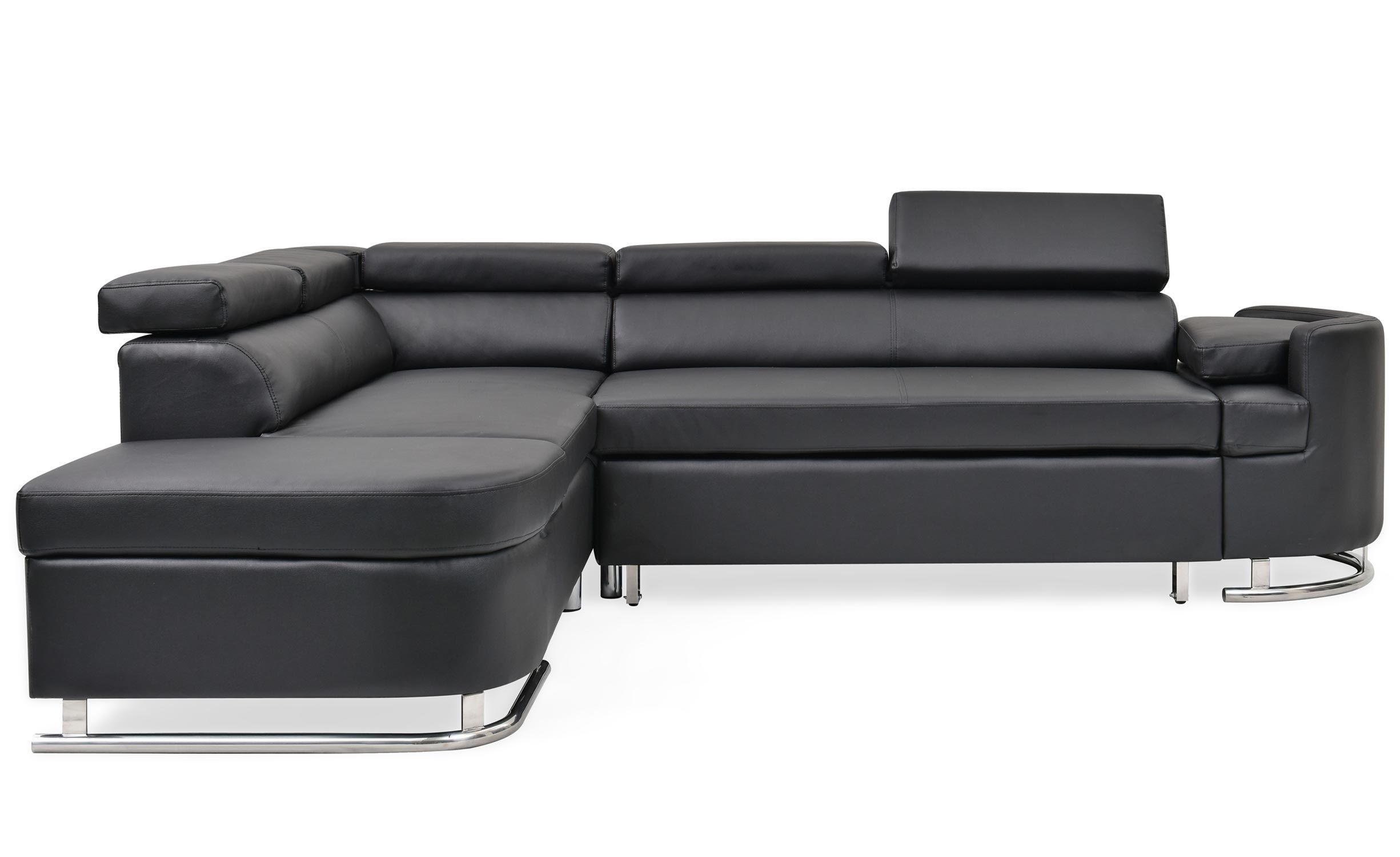 Canape D Angle Convertible Branca Simili Noir En 2020 Canape Angle Canape Angle Convertible Et Canape Arrondi