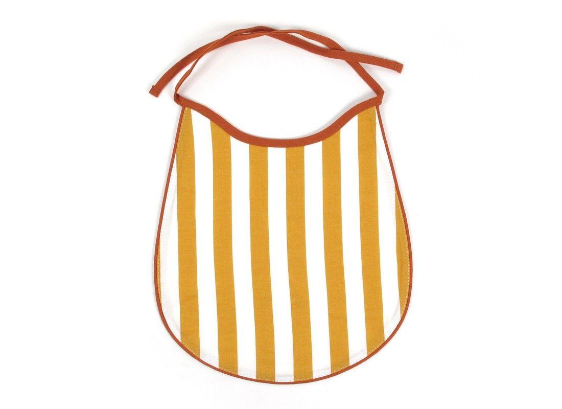 Babero Garfield Rayas Miel - Accesorios de moda - Bib Honey Stripes - Nobodinoz - Kid Art Design Store