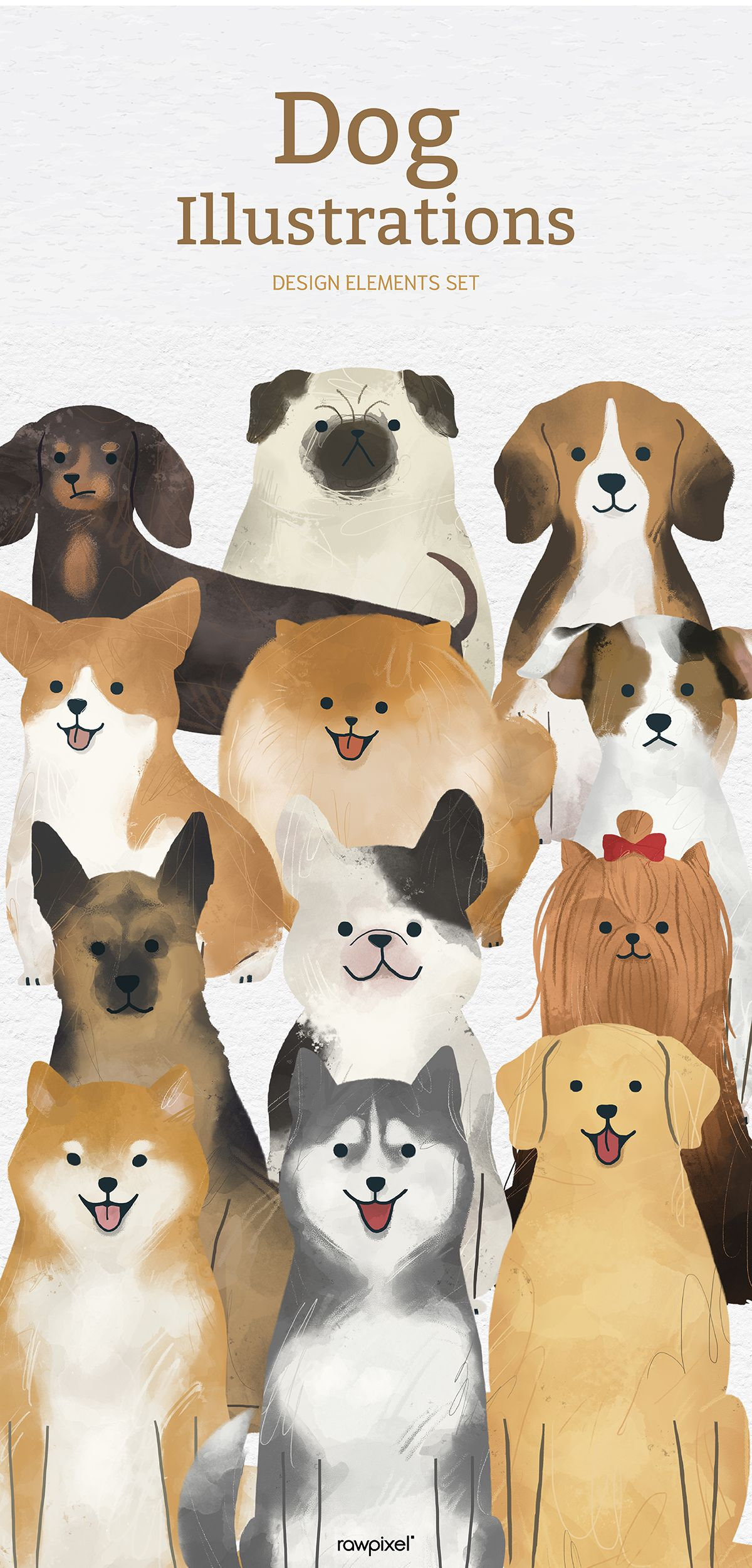 Download These Amazing Royalty Free Adorable Dog Illustrations As Well As Images Mockups Psd And Vectors At Rawpixel Com ในป 2020