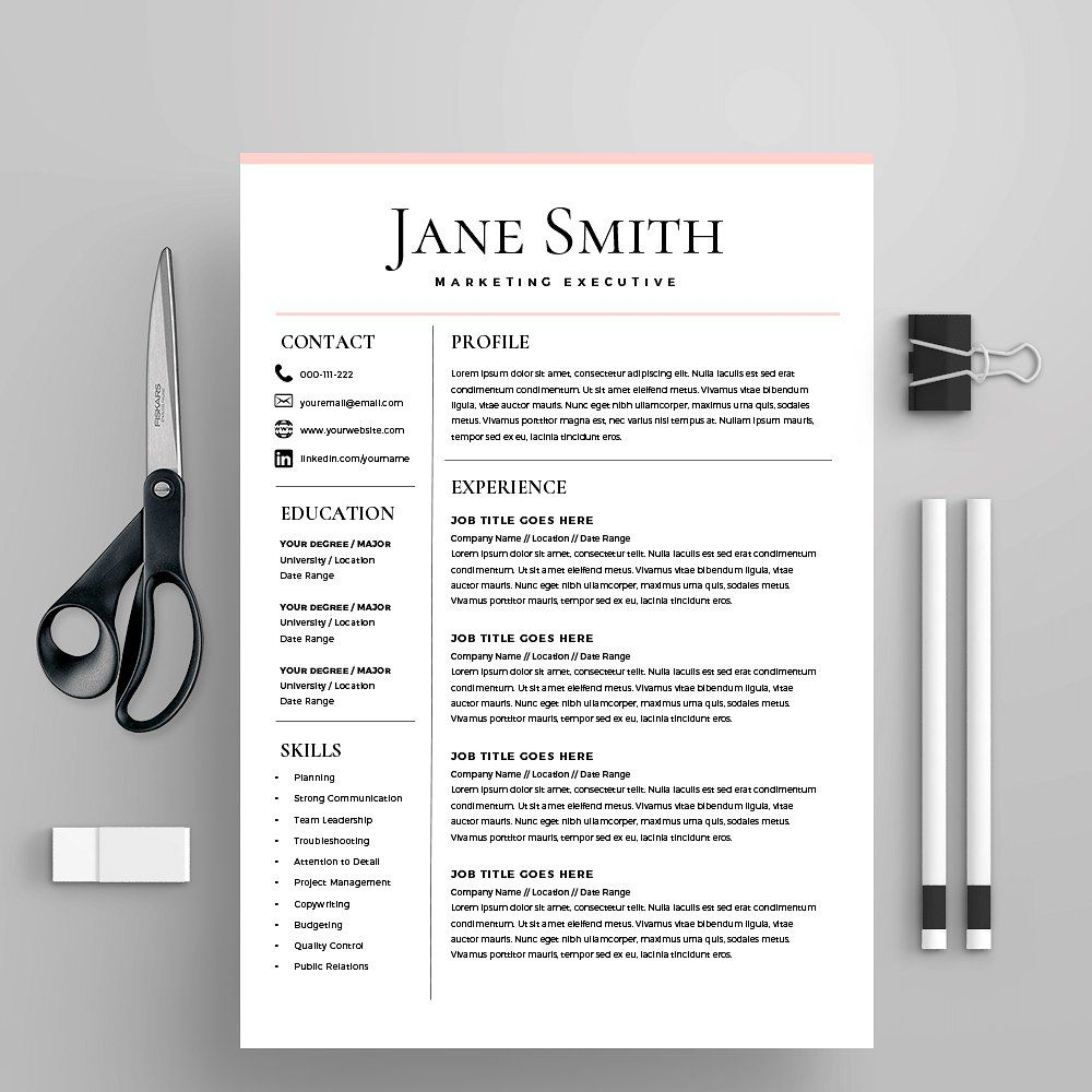 Microsoft Word Professional Resume template design will