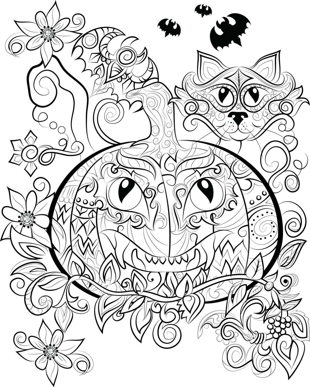 Halloween Colouring Page Instant Download To Print And Colour By Chandraws On Etsy Halloween Coloring Halloween Coloring Pages Halloween Coloring Book